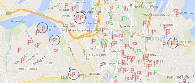 2014-10-05 - City of Sydney Development Applications Map - Intersect (Transparent)